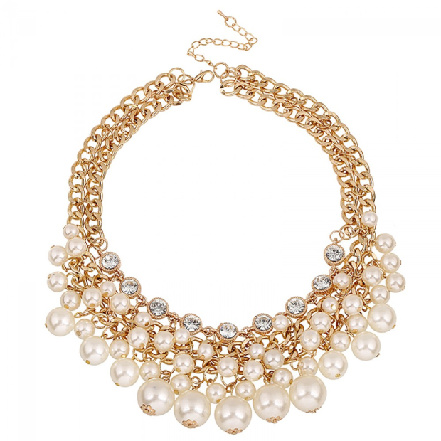 Pearl cluster choker necklace