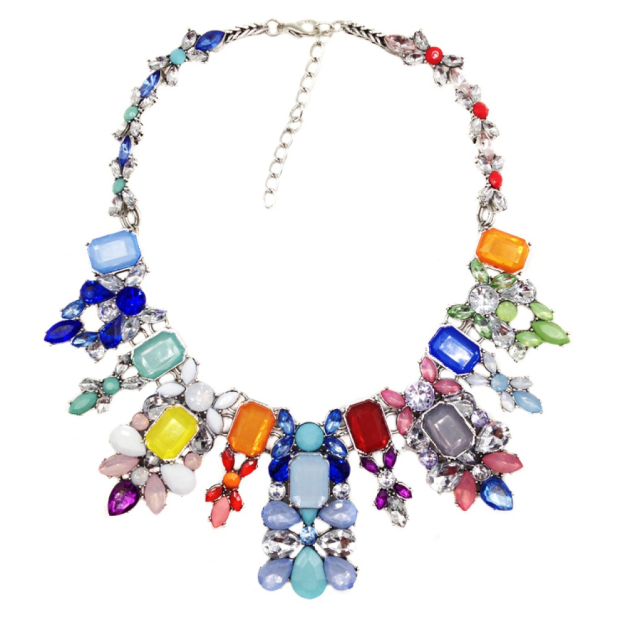 Multi colored crystal stone statement necklace