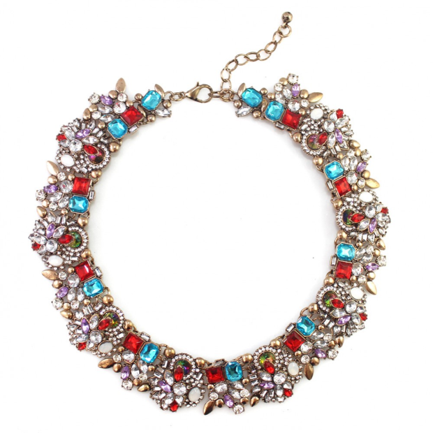 Zenia multicolored stone aurora choker necklace