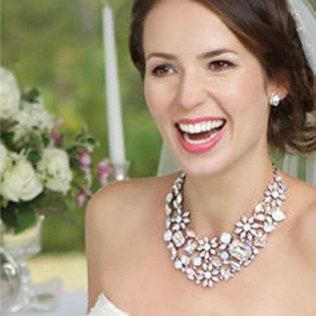 Image Source / Bridal Crystal Flower Statement Necklace