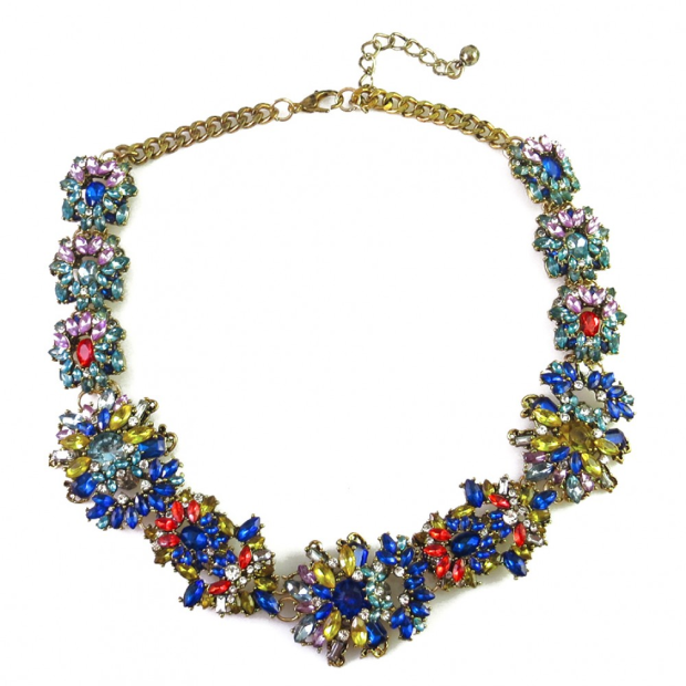 Multicolored choker statement necklace
