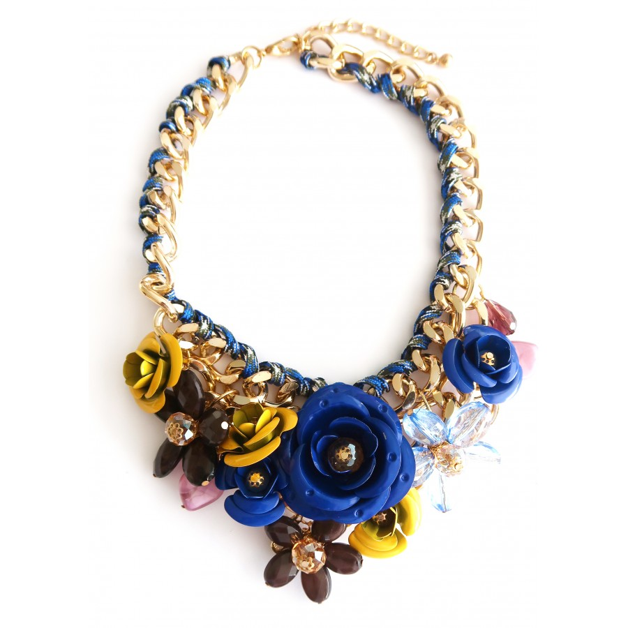 Valentine/'s Day Gift Floral Bib Statement Necklace Unique Flower Chunky Necklace June Birthday Gift Bold Accessories