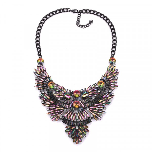 Multicolored Aurora Marquise Crystal Burst Bib Necklace