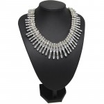 Crystal Ray Burst Silver Tone Statement Necklace