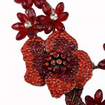 Red 3D Floral Crystal Encrusted Statement Necklace