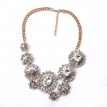 Diamante Crystal Floral Sunburst Statement Necklace