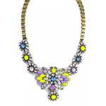 Agnieska Rainbow Neon Pastel Stone Burst Necklace