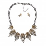Ombre Topaz Crystal Stone Burst Statement Bib Set
