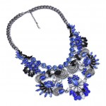 Sapphire Blue Crystal Floral Ornate Statement Necklace