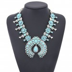 Aiyana Turquoise Stone Silver Toned Statement Necklace