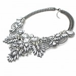 Diagolos Crystal Diamante Stone Cluster Bib Necklace