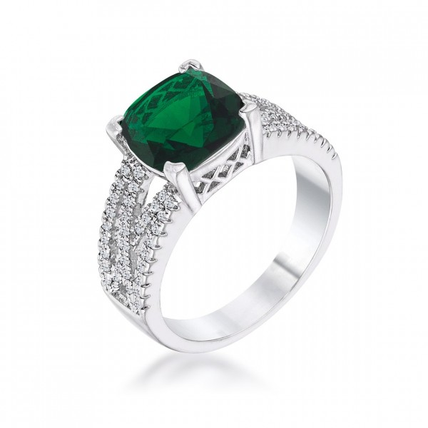 3ct Criss-Cross Emerald CZ Engagement Ring