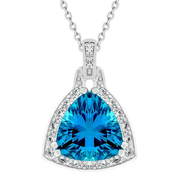 Aqua Illusion Trillion CZ Minimal Pendant Necklace