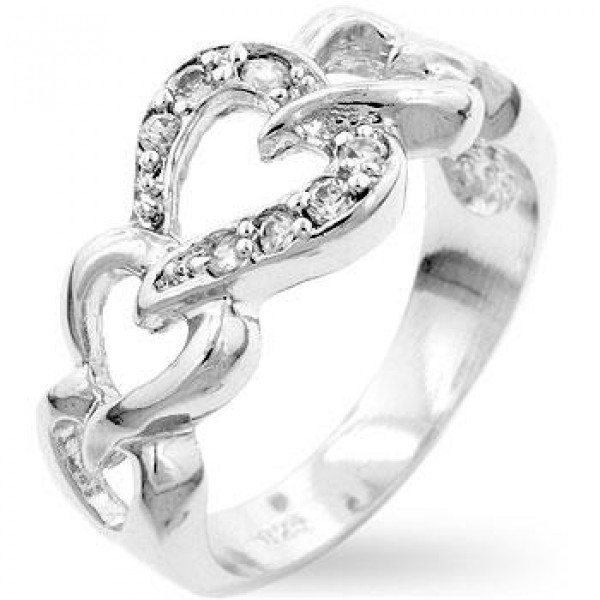 Linked Hearts Sterling Silver 925 Eternity Ring