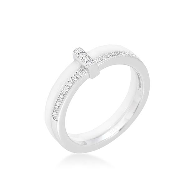 White Ceramic Sterling Silver Cubic Zirconia Ring