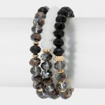 Black Aurora Faceted Boho Beaded Bracelet Set