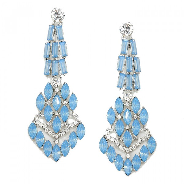 Opal Blue Chandelier Crystal Cascade Bridal Earrings