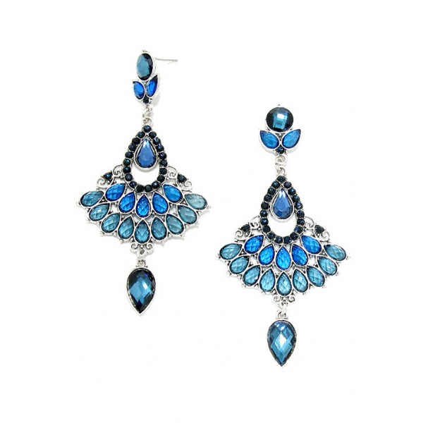 Blue Crystal Teardrop Fan Dangle Earrings