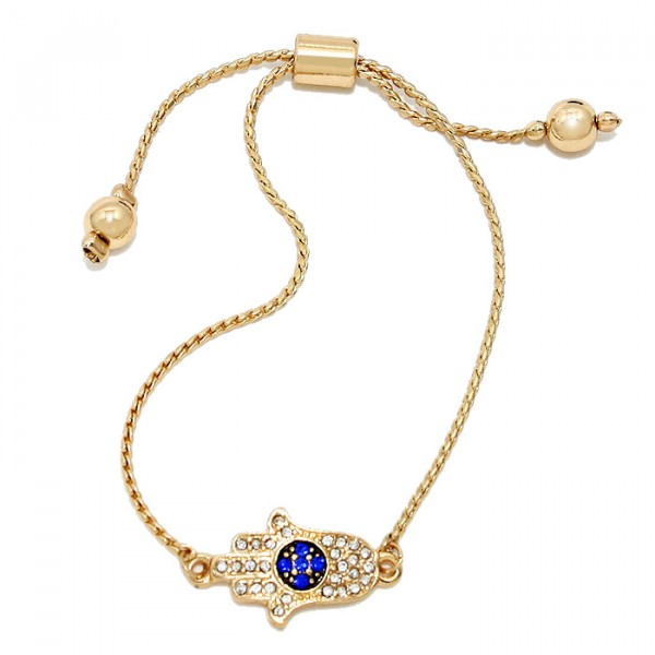Pave Crystal Hamsa Hand Simple Gold Tone Bracelet