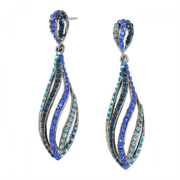 Blues Crystal Rhinestone Swirl Teardrop Earrings