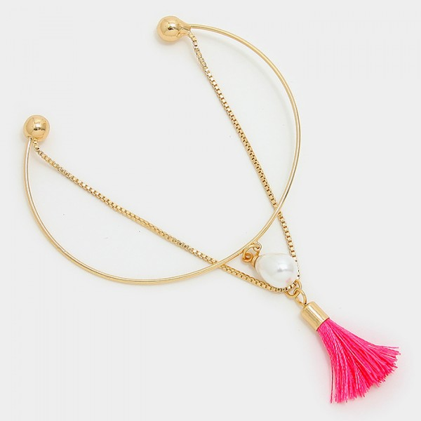 Double Layered Pearl Tassel Charm Gold Tone Bracelet