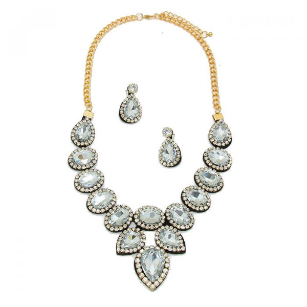 Clear Crystal Felt Back Bridal Necklace Set