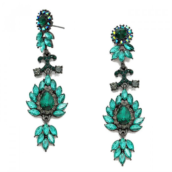 Emerald Jeweled Flora Crystal Pave Dangle Hematite Earrings