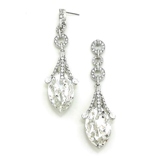 Queen's Glass Jester Crystal Drop Statement Earrings