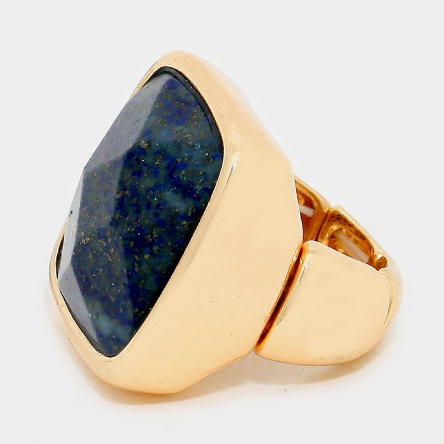 Cosmos Blue Stone Square Statement Ring