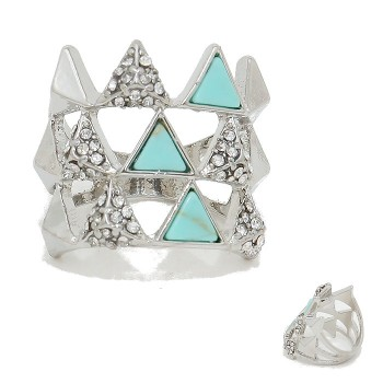 Crystal Pave Geo Triad Natural Turquoise Stone Rhodium Ring