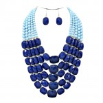 Two Toned Blue Faceted Multi Layered Pebbles Necklace