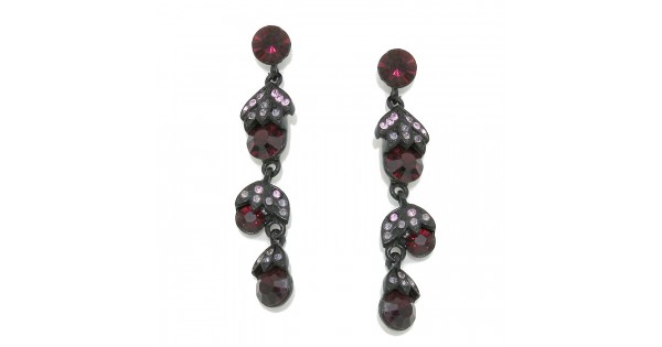 Wine Berry Drop Crystal Gunmetal Drop Dangle Earrings