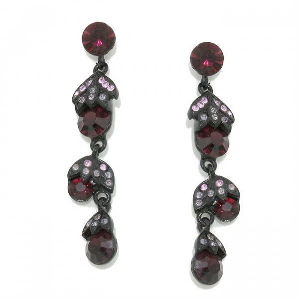 Wine Berry Drop Crystal Gunmetal Drop Earrings