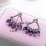 Amethyst Crystal Marquise Pendulum Stud Earrings