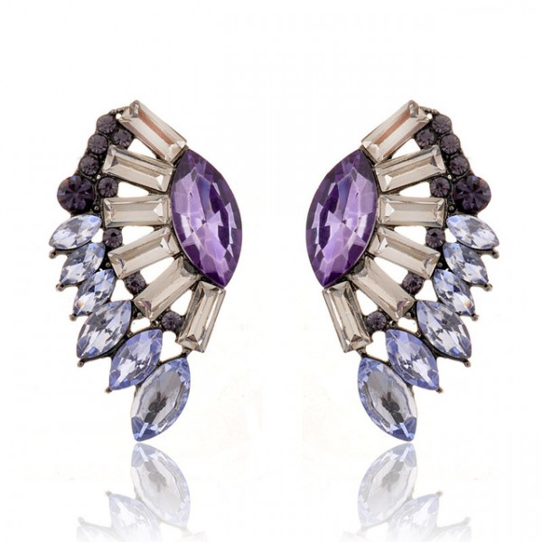 Light Amethyst Angel Wing Crystal Drop Earrings