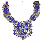 Sapphire Crystal Encrusted Antique Gold Statement Necklace