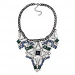 Jewel Tone Art Deco Crystal Stone Statement Necklace