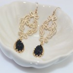 Black Teardrop Druzy Stone Filigree Earrings