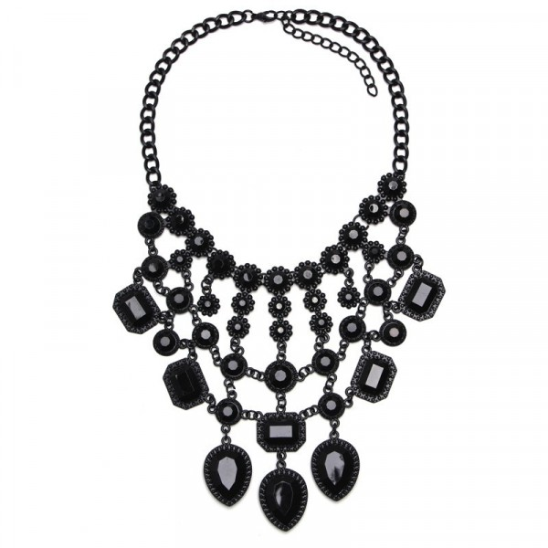Black Hand-painted Gemstone Cascade Bib Necklace
