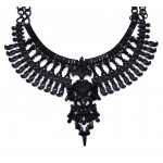 Tenoch Black Hand Painted Boho Maxi Necklace