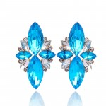 Blue Marquise Crystal Stone Statement Earrings