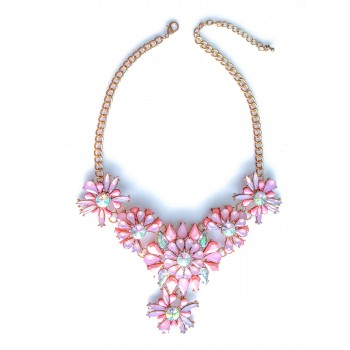 Blush Pink Aurora Stone Floral Bib Necklace