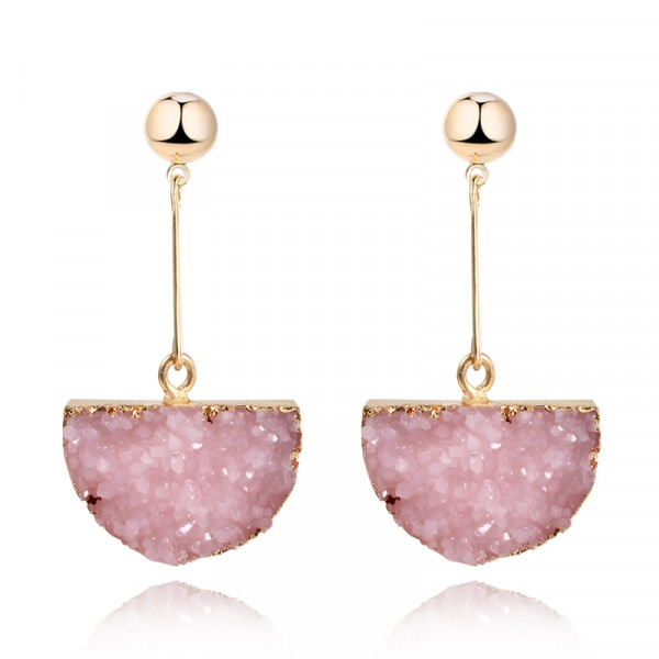 Blush Pink Druzy Quartz Half Moon Earrings