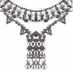 Aztec Crystal Silver Tone Choker Necklace
