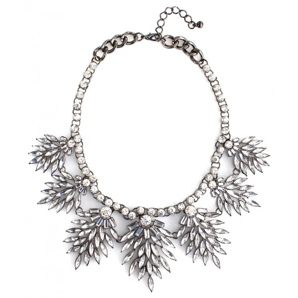 Leiland Crystal Stone Wreath Statement Necklace