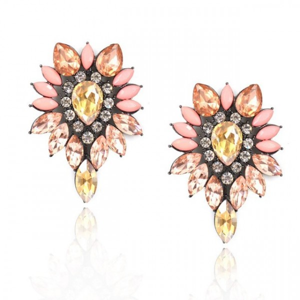 Ombre Blush Stone Burst Stud Drop Earrings