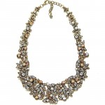 Topaz Silk Laurel Crystal Stone Bib Necklace
