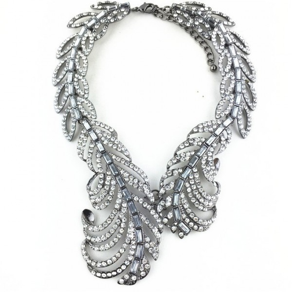 Crystal Clear Laurel Choker Bib Necklace