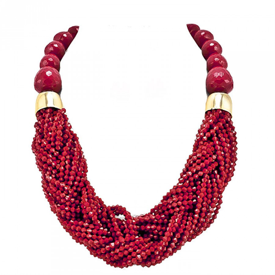 Red Faceted Stones Beaded Statement Necklace Set