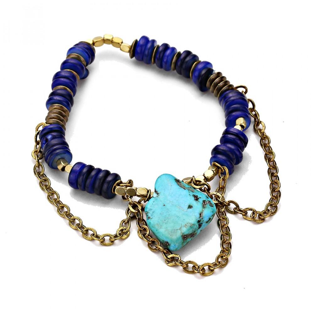 turquoise stone shell beads fringe antique bracelet. Black Bedroom Furniture Sets. Home Design Ideas